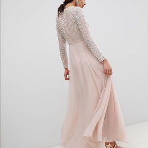 ASOS PEARL EMBELLISHED LONG SLEEVE MAXI DRESS